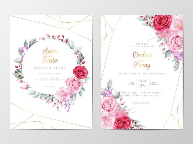 Plantilla de tarjetas de invitación de boda floral moderna con decoración de flores