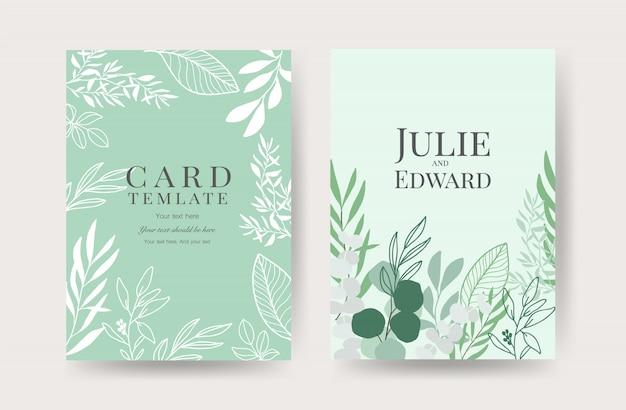 Plantilla de tarjetas de invitación de boda floral