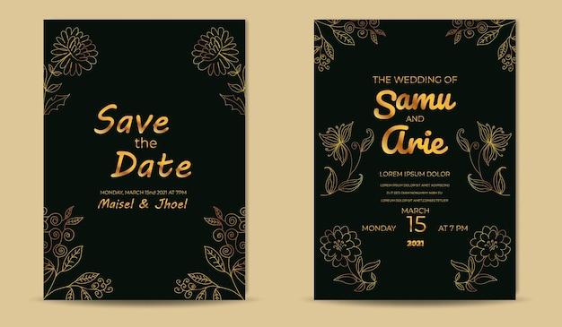 Plantilla de tarjetas de invitación de boda de lujo con línea de flores doradas