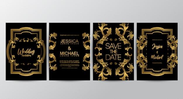 Plantilla de tarjetas de invitación de boda de lujo premium