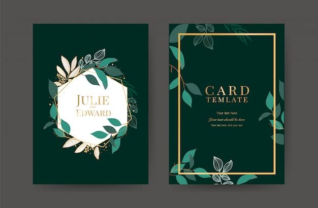 Plantilla de tarjetas de invitación de boda de lujo