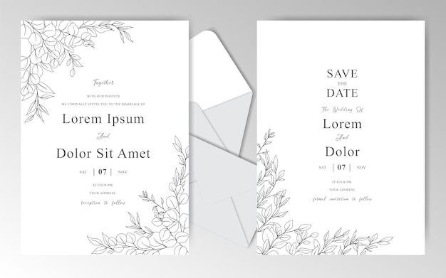 Plantilla de tarjetas de invitación de boda romántica dibujada a mano