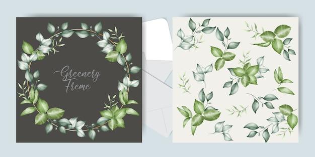 Plantilla de tarjetas de invitación de boda verde
