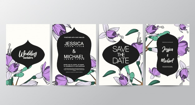 Plantilla de tarjetas de invitación floral