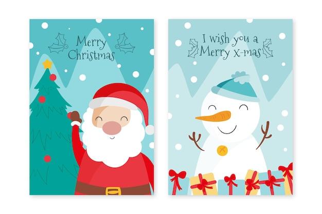 Plantilla de tarjetas de navidad dibujadas a mano