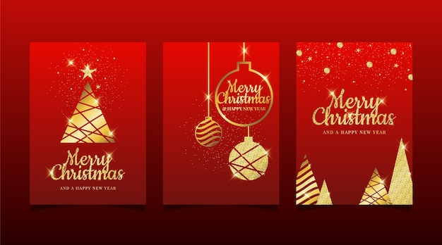Plantilla de tarjetas de navidad doradas