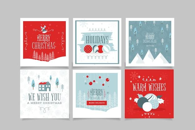Plantilla de tarjetas de navidad ornamentales