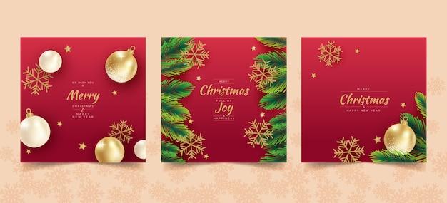Plantilla de tarjetas de navidad realistas