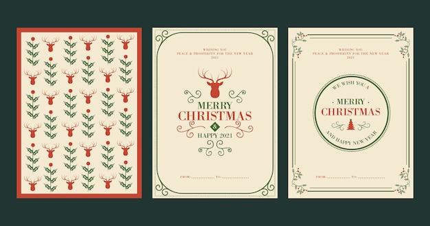 Plantilla de tarjetas de navidad vintage