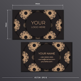 Plantilla de tarjetas de presentación presentables negras. adornos decorativos de tarjetas de visita, patrón oriental, ilustración.