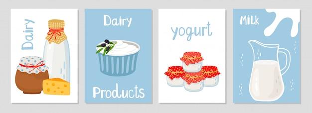 Plantilla de tarjetas de productos lácteos