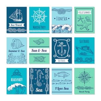 Plantilla de tarjetas con símbolos marinos en rancio. ilustraciones náuticas con lugar para su texto. tarjeta náutica marina, bandera de mar y sol.