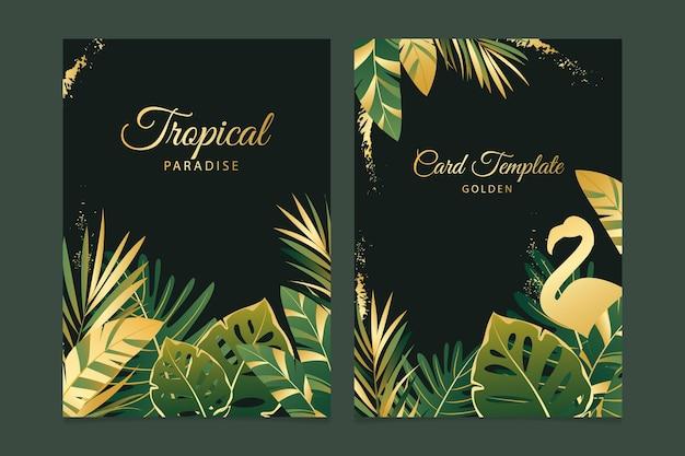 Plantilla de tarjetas tropicales con salpicaduras doradas