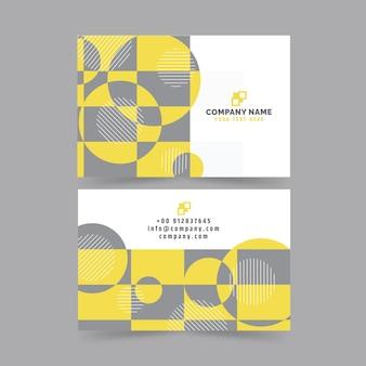 Plantilla de tarjetas de visita abstractas amarillas y grises