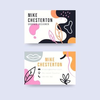 Plantilla de tarjetas de visita abstractas dibujadas a mano