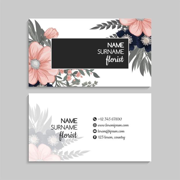Plantilla de tarjetas de visita abstractas con flores azules
