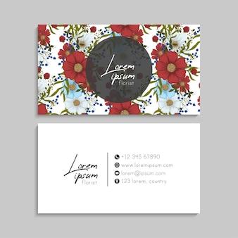 Plantilla de tarjetas de visita abstractas con flores