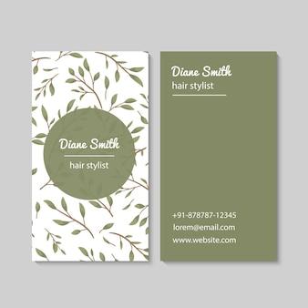 Plantilla de tarjetas de visita abstractas con hojas