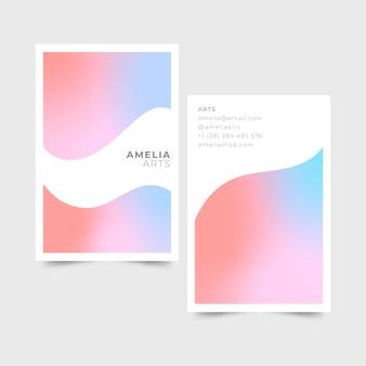 Plantilla de tarjetas de visita en colores pastel