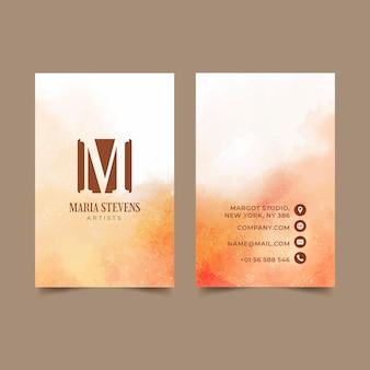 Plantilla de tarjetas de visita dibujadas a mano en acuarela
