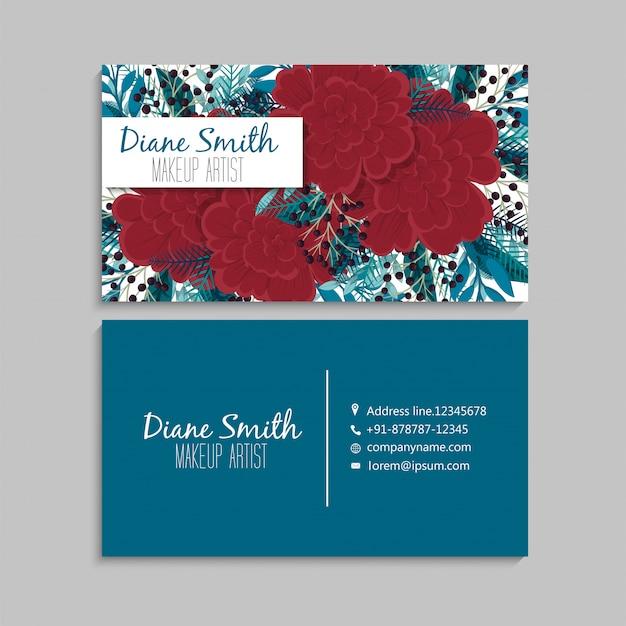 Plantilla de tarjetas de visita flor roja y verde menta