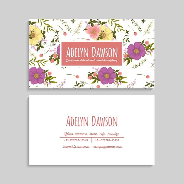 Plantilla de tarjetas de visita con flores de color rosa. detrás y delante