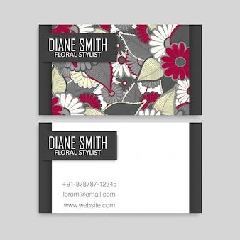 Plantilla de tarjetas de visita flores dibujadas a mano