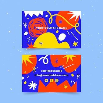Plantilla de tarjetas de visita de formas abstractas dibujadas a mano