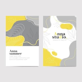 Plantilla de tarjetas de visita orgánicas amarillas y grises