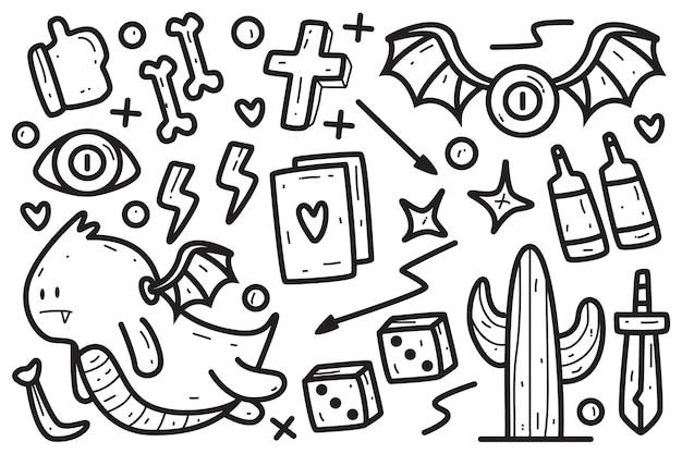 Plantilla de tatuaje de doodle de dibujos animados