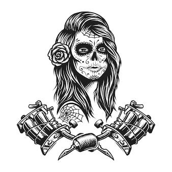 Plantilla de tatuaje monocromo vintage
