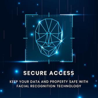 Plantilla de tecnología de acceso seguro con escaneo de reconocimiento facial