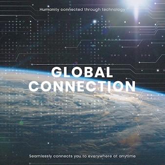 Plantilla de tecnología de conexión global publicación de redes sociales de negocios de computadoras