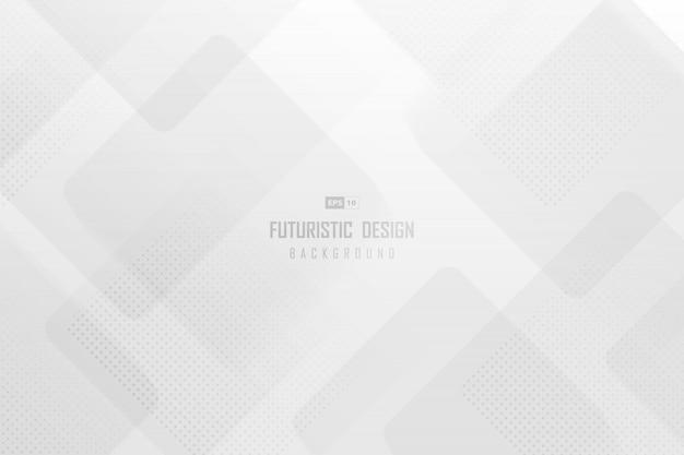 Plantilla de tecnología de moda abstracta de arte cuadrado blanco con fondo de diseño de trama de semitonos.