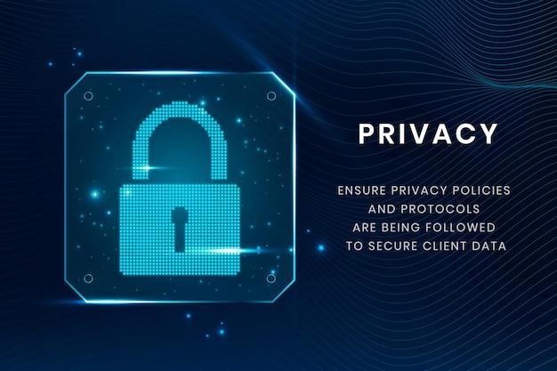 Plantilla de tecnología de privacidad de datos con icono de candado