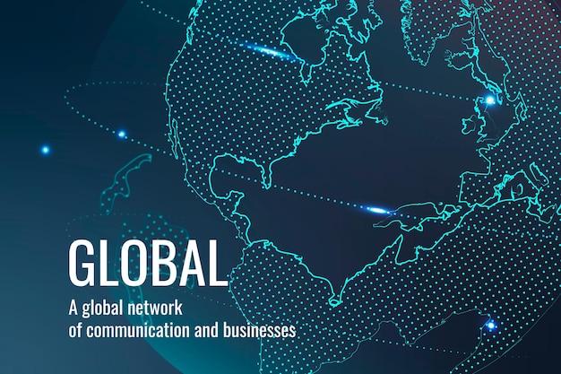 Plantilla de tecnología de red global en tono azul oscuro