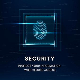 Plantilla de tecnología de seguridad de datos psd con escaneo de huellas dactilares