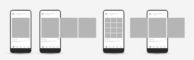 Plantilla de teléfono inteligente con publicación de interfaz de carrusel en la red social. plantilla de página de aplicación móvil de redes sociales.