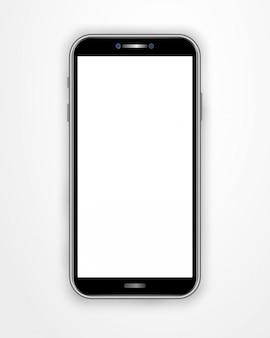 Plantilla de teléfono inteligente realista con pantalla en blanco aislada en fondo blanco.