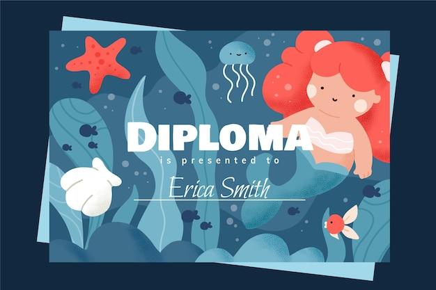 Plantilla de tema de diploma para niños