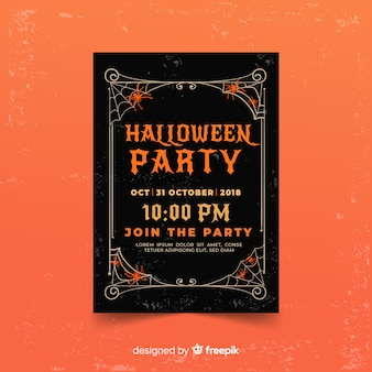 Plantilla terrorífica de póster de fiesta de halloween con diseño plano