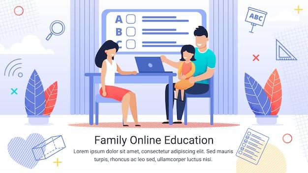 Plantilla de texto de banner informativo y educación familiar en línea.
