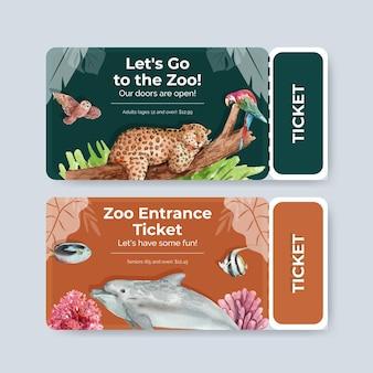 Plantilla de ticket con la biodiversidad como especies de vida silvestre natural o protección de la fauna