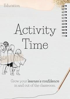 Plantilla de tiempo de actividad en papel con doodle de estudiante