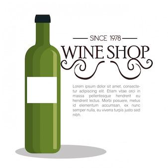 Plantilla de tienda de vinos icono aislado diseño