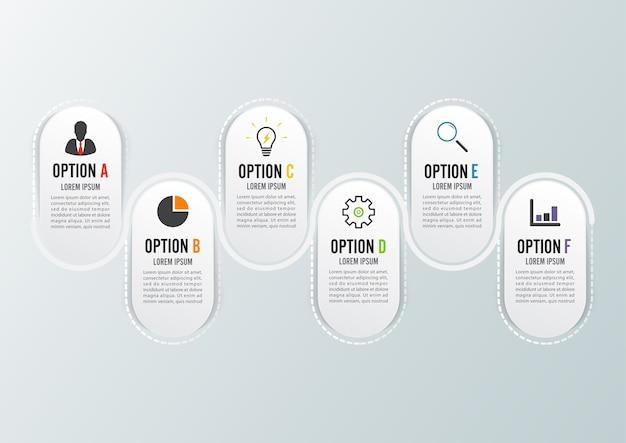 Plantilla timeline número de infografía para seis posiciones.