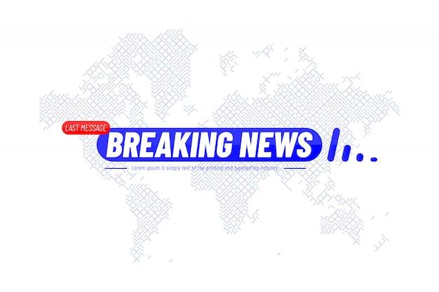 Plantilla de título de breaking news con mapa mundial de tecnología para el canal de tv de pantalla