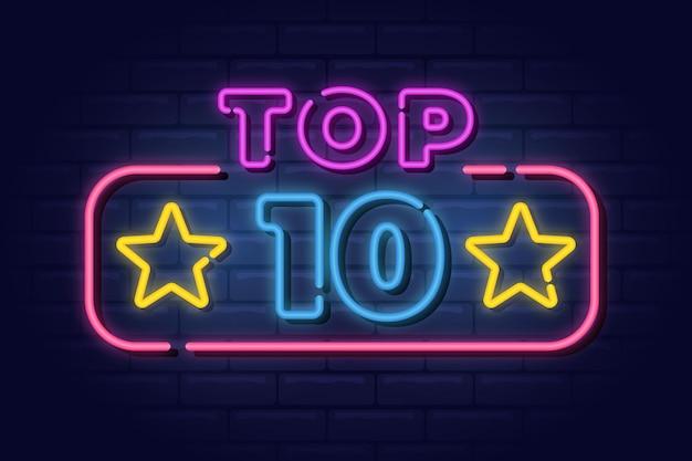 Plantilla de top 10 de luces de neón