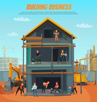 Plantilla de trabajadores de la construcción
