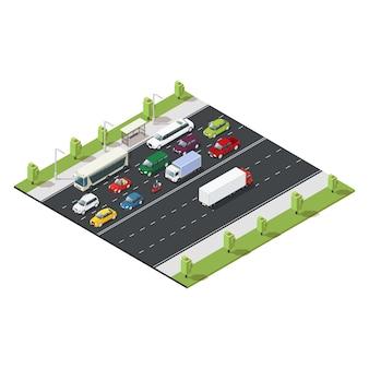 Plantilla de tráfico urbano isométrico
